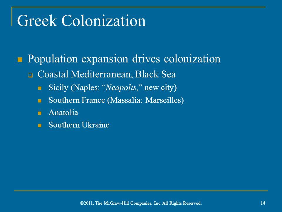 Greek Colonization Population expansion drives colonization  Coastal Mediterranean, Black Sea Sicily (Naples: Neapolis, new city) Southern France (Massalia: Marseilles) Anatolia Southern Ukraine 14 ©2011, The McGraw-Hill Companies, Inc.