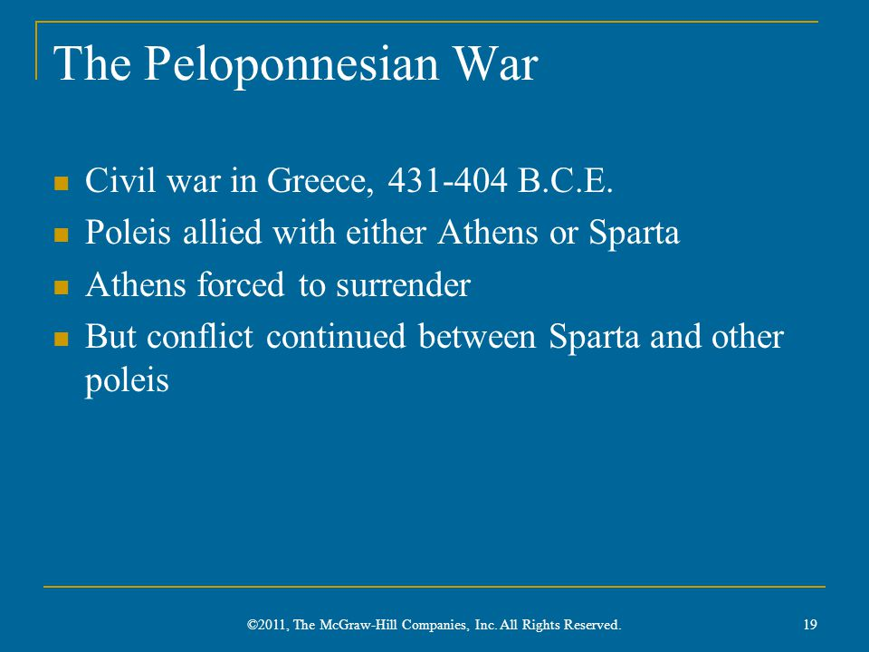 The Peloponnesian War Civil war in Greece, 431-404 B.C.E. Poleis allied with either Athens or Sparta Athens forced to surrender But conflict continued