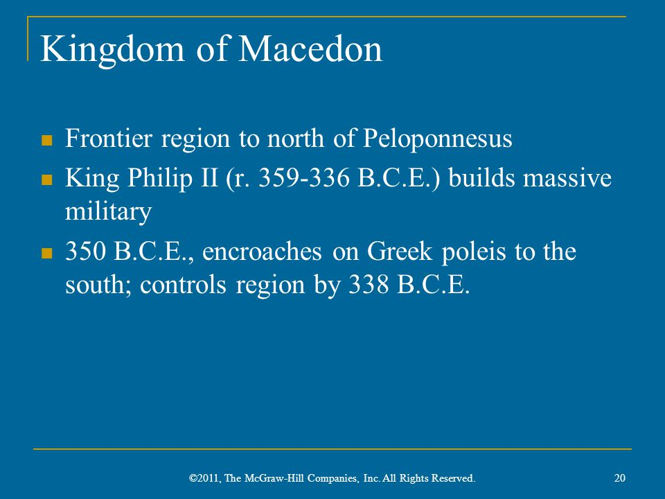 Kingdom of Macedon Frontier region to north of Peloponnesus King Philip II (r.