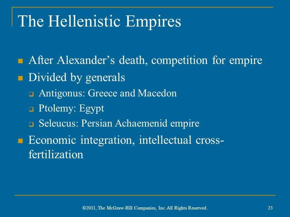 The Hellenistic Empires After Alexander's death, competition for empire Divided by generals  Antigonus: Greece and Macedon  Ptolemy: Egypt  Seleucu