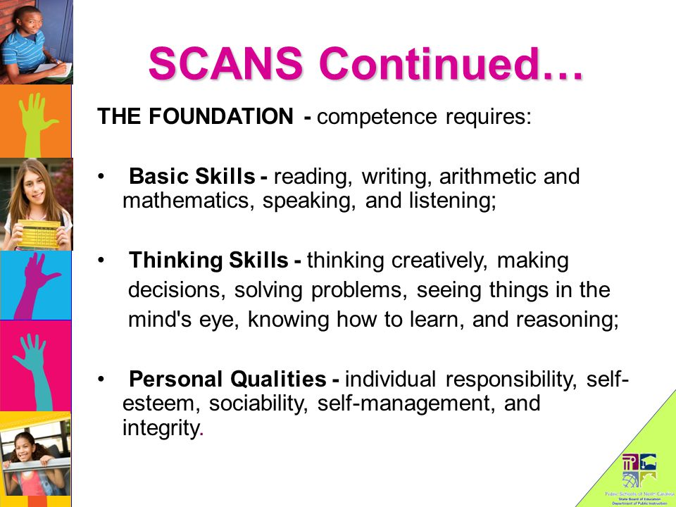 SCANS Continued… THE FOUNDATION - competence requires: Basic Skills - reading, writing, arithmetic and mathematics, speaking, and listening; Thinking Skills - thinking creatively, making decisions, solving problems, seeing things in the mind s eye, knowing how to learn, and reasoning; Personal Qualities - individual responsibility, self- esteem, sociability, self-management, and integrity.
