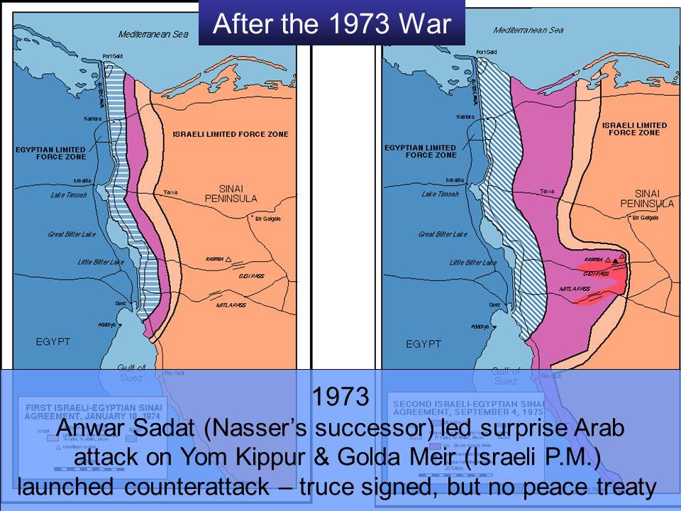 After the 1973 War 1973 Anwar Sadat (Nasser's successor) led surprise Arab attack on Yom Kippur & Golda Meir (Israeli P.M.) launched counterattack – t