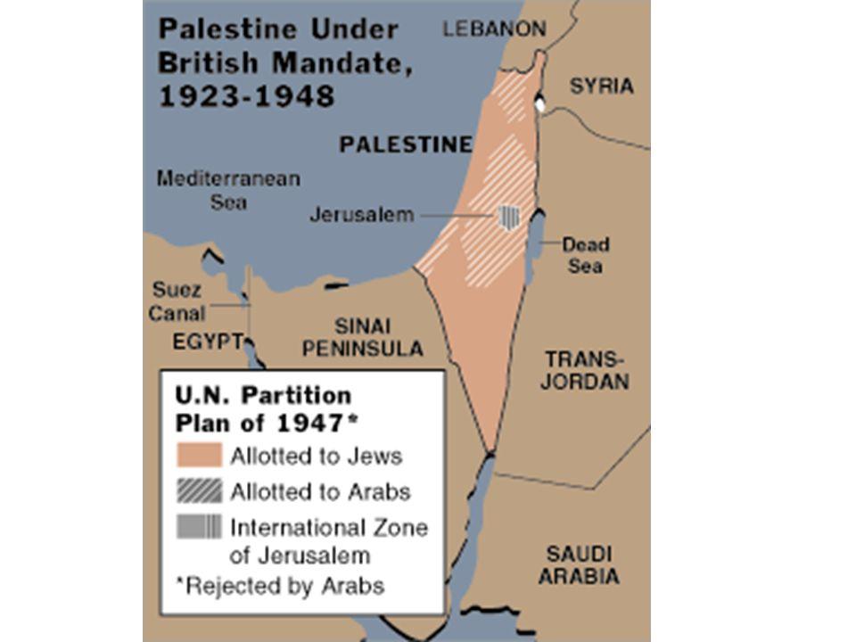 1948-1949 The day after independence, Egypt, Iraq, Jordan, Lebanon, Saudi Arabia & Syria invaded Israel Israel seized ½ Palestinian land Egypt  Gaza Strip Jordan  West Bank Palestinians  no land (refugees)