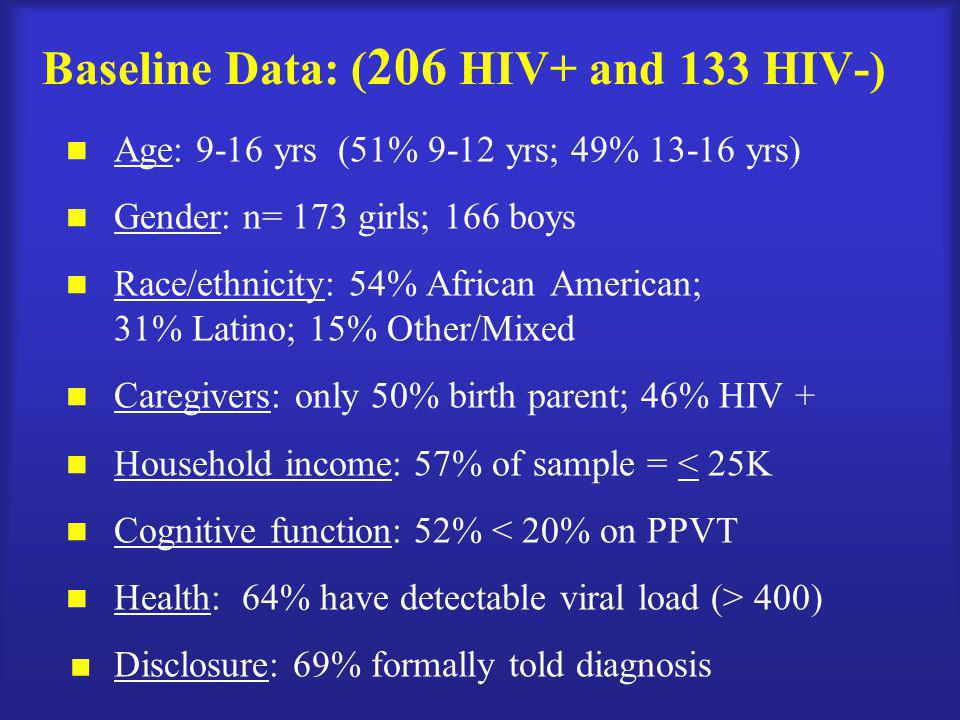 Baseline Data: ( 206 HIV+ and 133 HIV-) Age: 9-16 yrs (51% 9-12 yrs; 49% 13-16 yrs) Gender: n= 173 girls; 166 boys Race/ethnicity: 54% African America