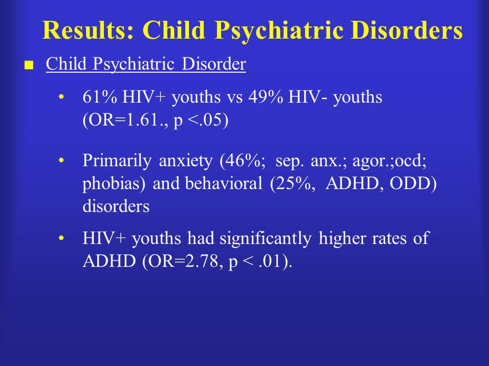Results: Child Psychiatric Disorders  Child Psychiatric Disorder 61% HIV+ youths vs 49% HIV- youths (OR=1.61., p <.05) Primarily anxiety (46%; sep. a