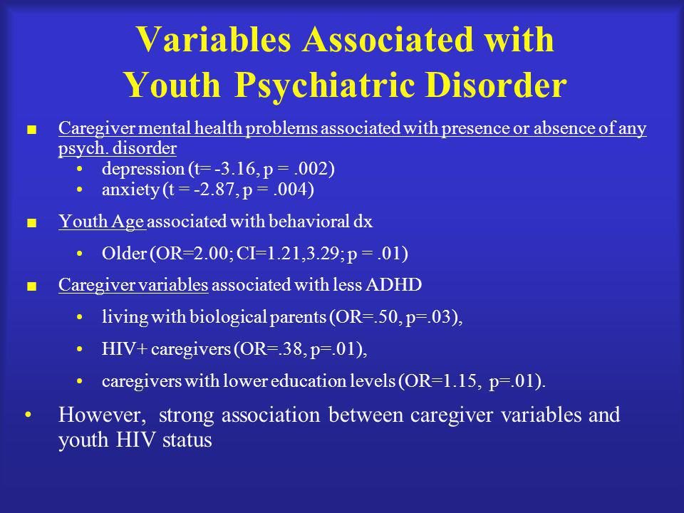 Variables Associated with Youth Psychiatric Disorder  Caregiver mental health problems associated with presence or absence of any psych.
