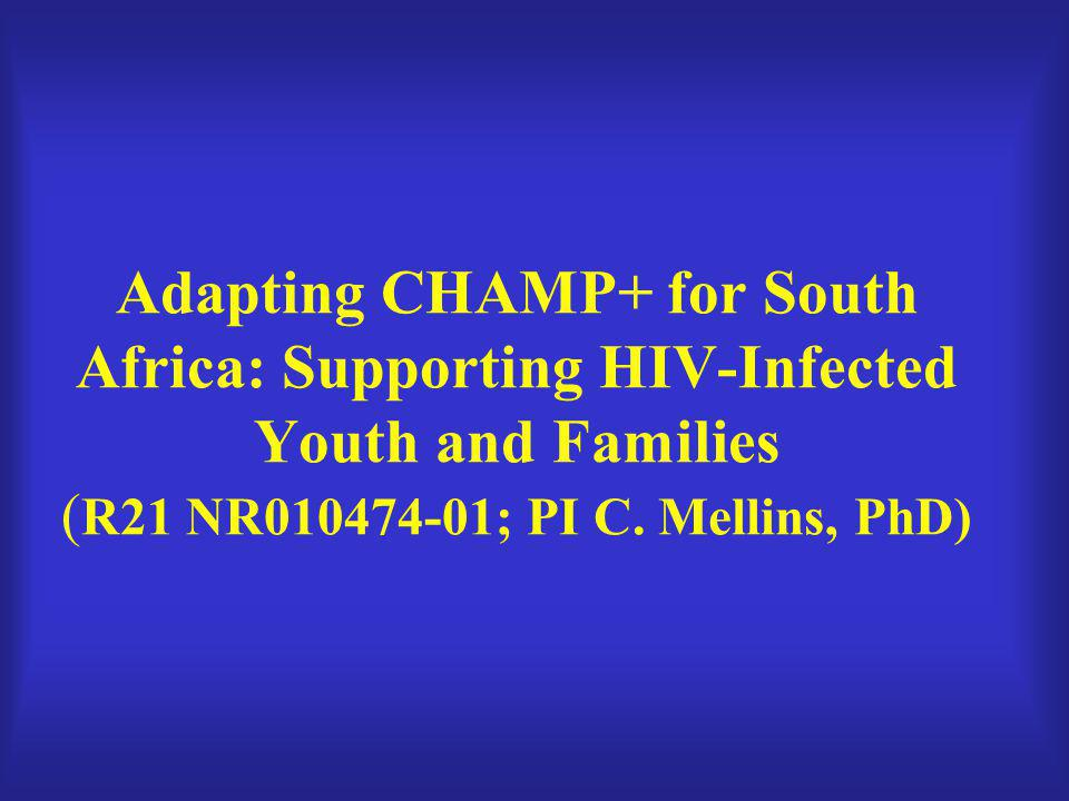 Adapting CHAMP+ for South Africa: Supporting HIV-Infected Youth and Families ( R21 NR010474-01; PI C. Mellins, PhD)