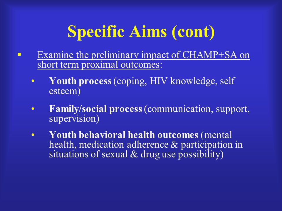 Specific Aims (cont)  Examine the preliminary impact of CHAMP+SA on short term proximal outcomes: Youth process (coping, HIV knowledge, self esteem)