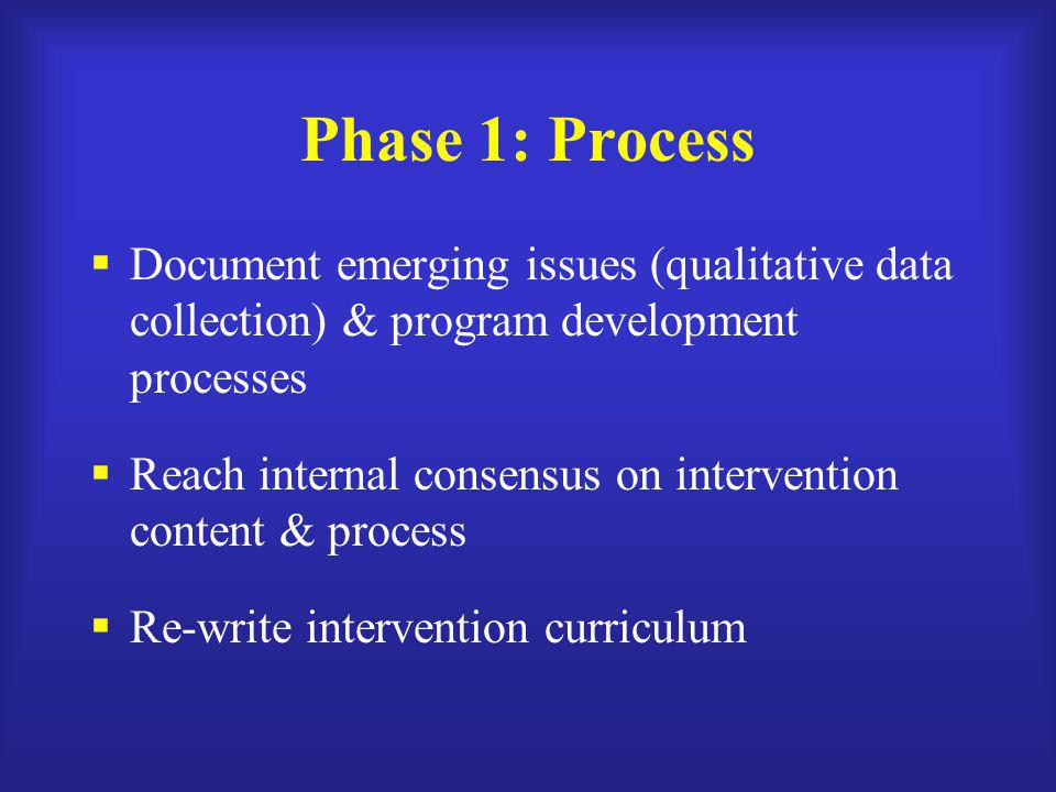 Phase 1: Process  Document emerging issues (qualitative data collection) & program development processes  Reach internal consensus on intervention c