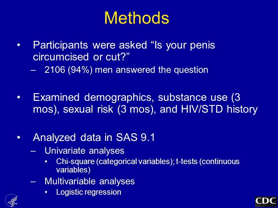 Methods Participants were asked Is your penis circumcised or cut –2106 (94%) men answered the question Examined demographics, substance use (3 mos), sexual risk (3 mos), and HIV/STD history Analyzed data in SAS 9.1 –Univariate analyses Chi-square (categorical variables); t-tests (continuous variables) –Multivariable analyses Logistic regression