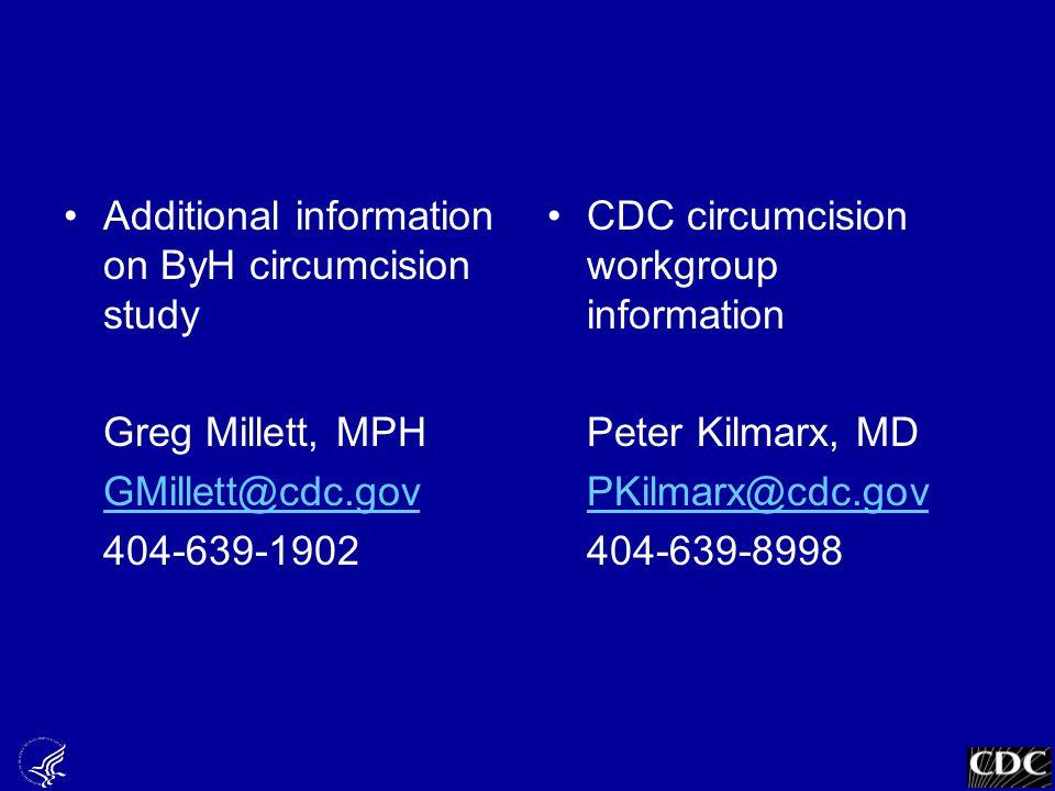 Additional information on ByH circumcision study Greg Millett, MPH GMillett@cdc.gov 404-639-1902 CDC circumcision workgroup information Peter Kilmarx, MD PKilmarx@cdc.gov 404-639-8998