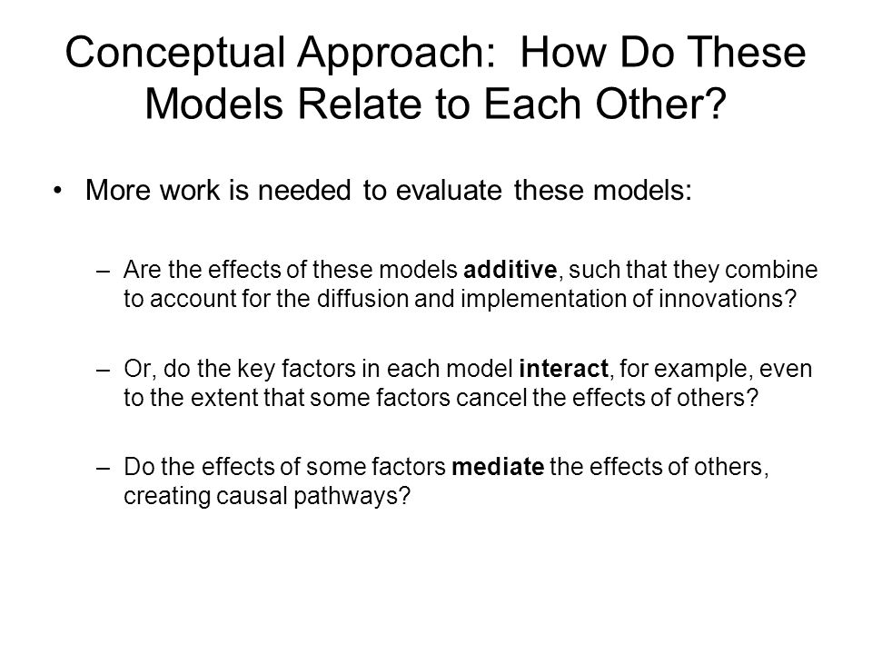 Conceptual Approach: How Do These Models Relate to Each Other.