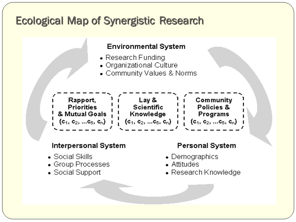 Ecological Map of Synergistic Research