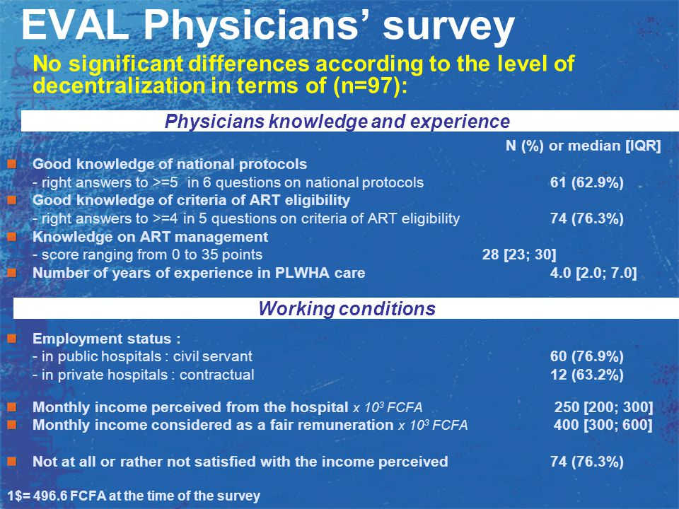 EVAL Physicians' survey No significant differences according to the level of decentralization in terms of (n=97): N (%) or median [IQR] Good knowledge