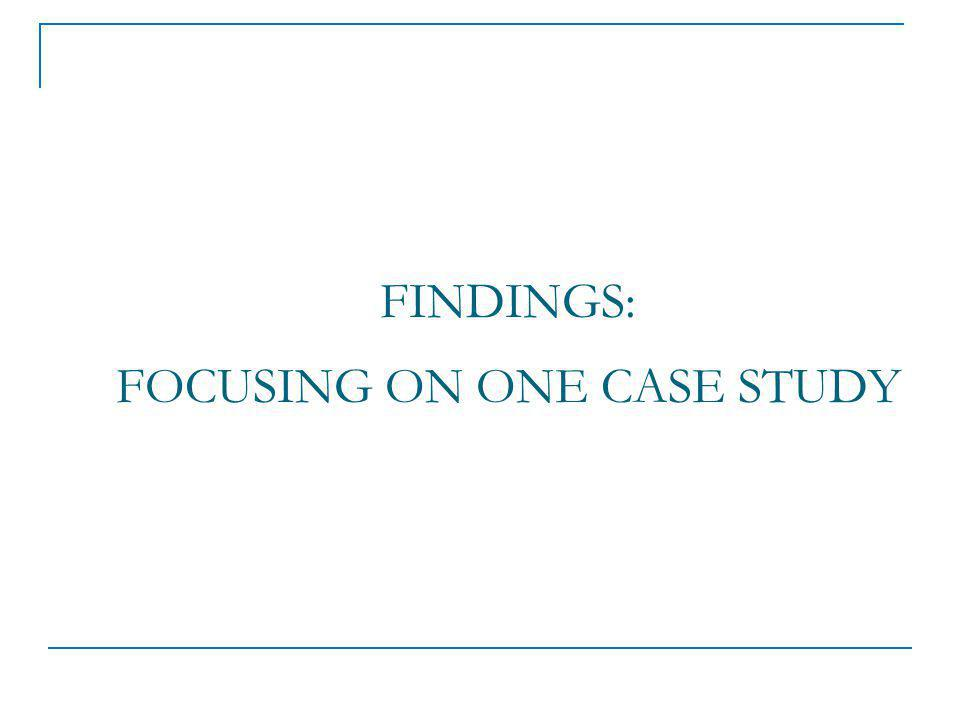 FINDINGS: FOCUSING ON ONE CASE STUDY