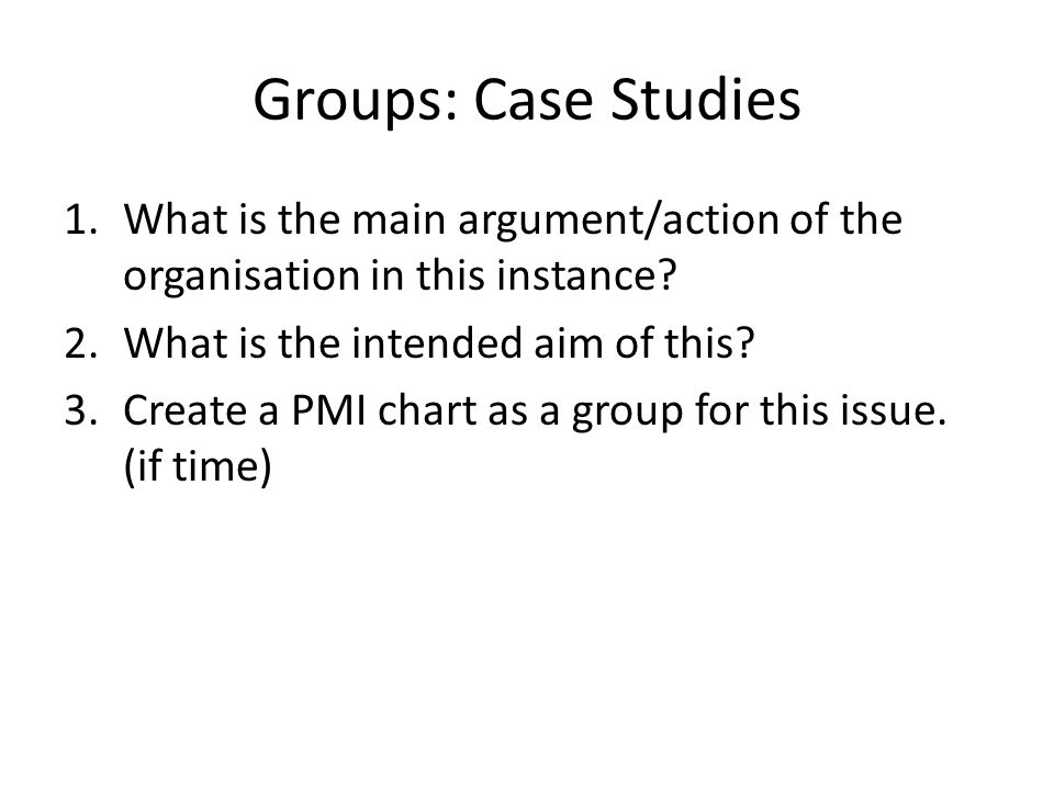 Groups: Case Studies 1.What is the main argument/action of the organisation in this instance.