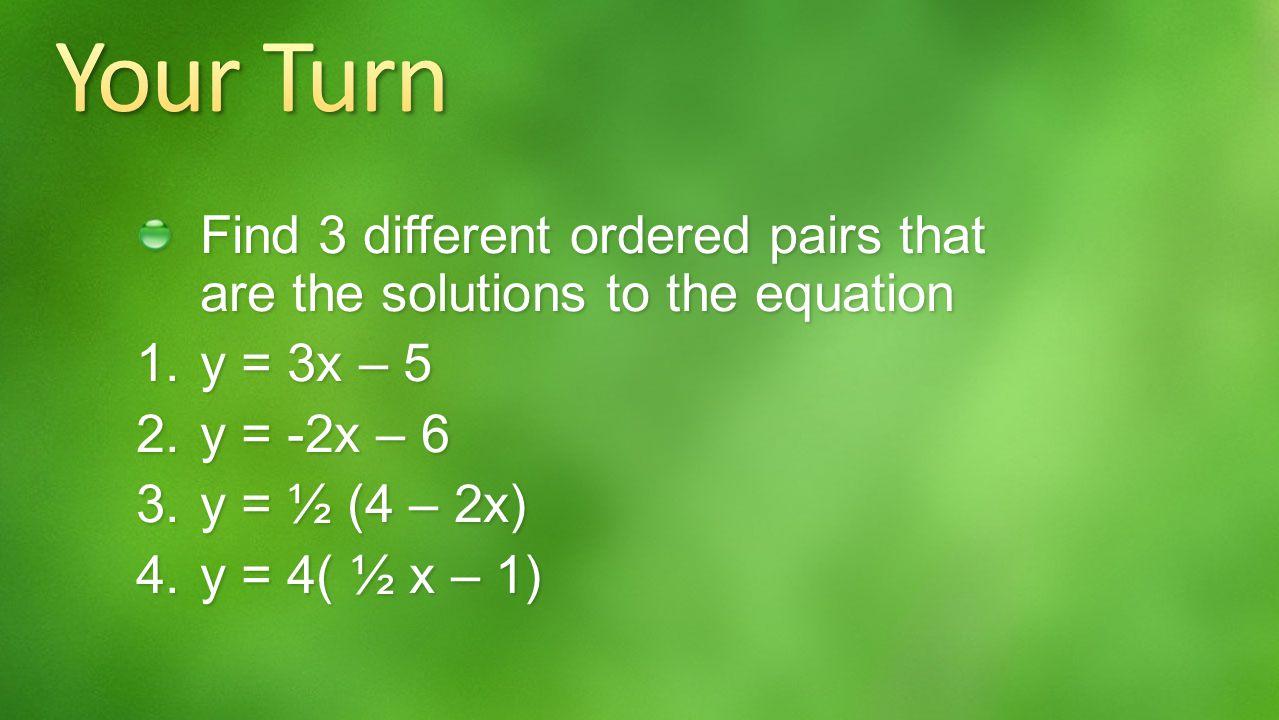 (x, y) (0, - 1) (1, 1) (2, 3) x y (0, -1) (1,1) (2,3) y = 2x – 1