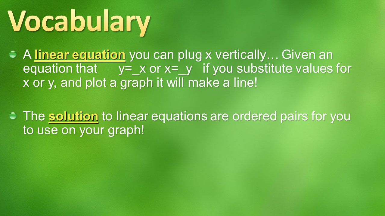 Students will graph linear equations using a table.