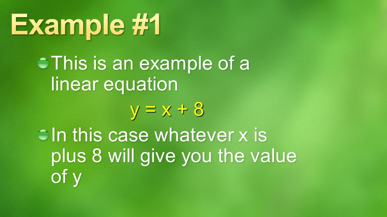 What is a Linear Equation? A linear equation is an equation whose graph forms a straight line. Linear equations are usually shown on a coordinate plan