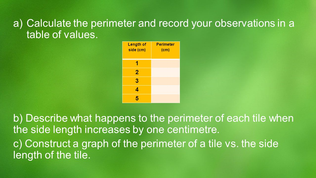 a) a)Calculate the perimeter and record your observations in a table of values. b) Describe what happens to the perimeter of each tile when the side l
