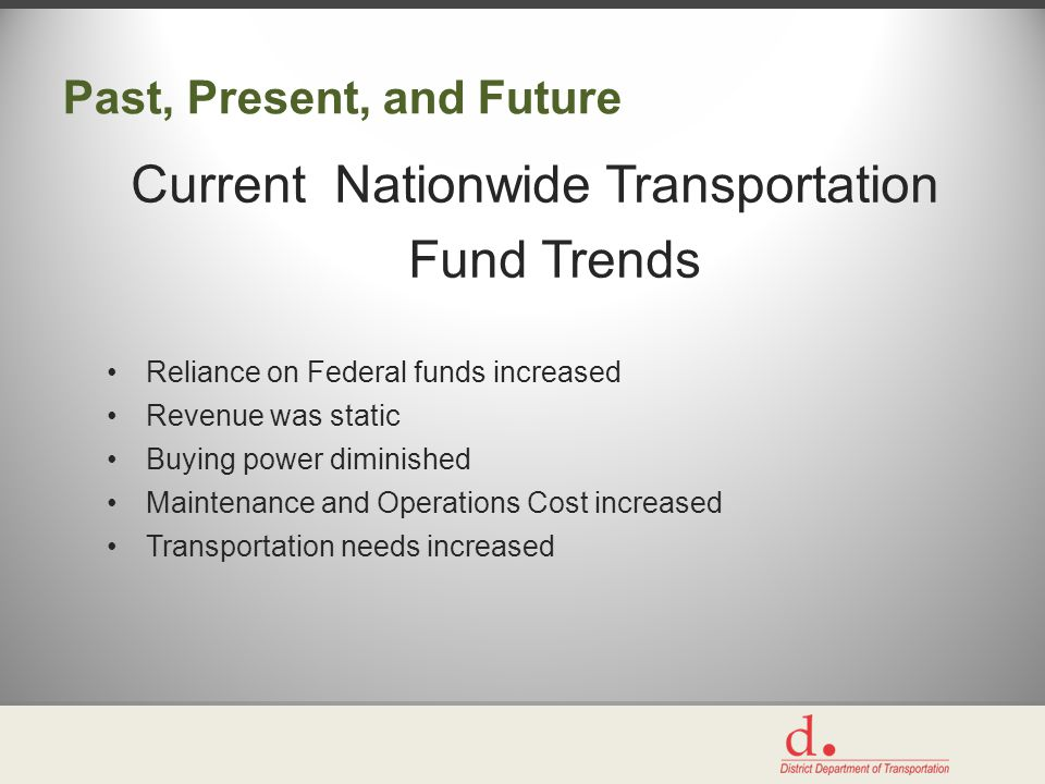 Past, Present, and Future Current Nationwide Transportation Fund Trends Reliance on Federal funds increased Revenue was static Buying power diminished Maintenance and Operations Cost increased Transportation needs increased