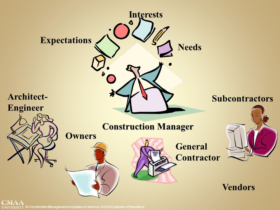 © Construction Management Association of America. Do Not Duplicate or Reproduce. Expectations Needs Interests Owners Architect- Engineer Vendors Gener
