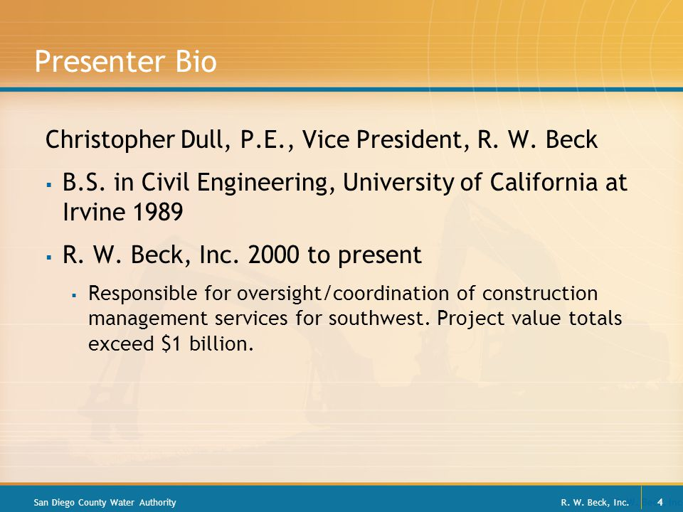 R. W. Beck, Inc. 4 Presenter Bio Christopher Dull, P.E., Vice President, R.