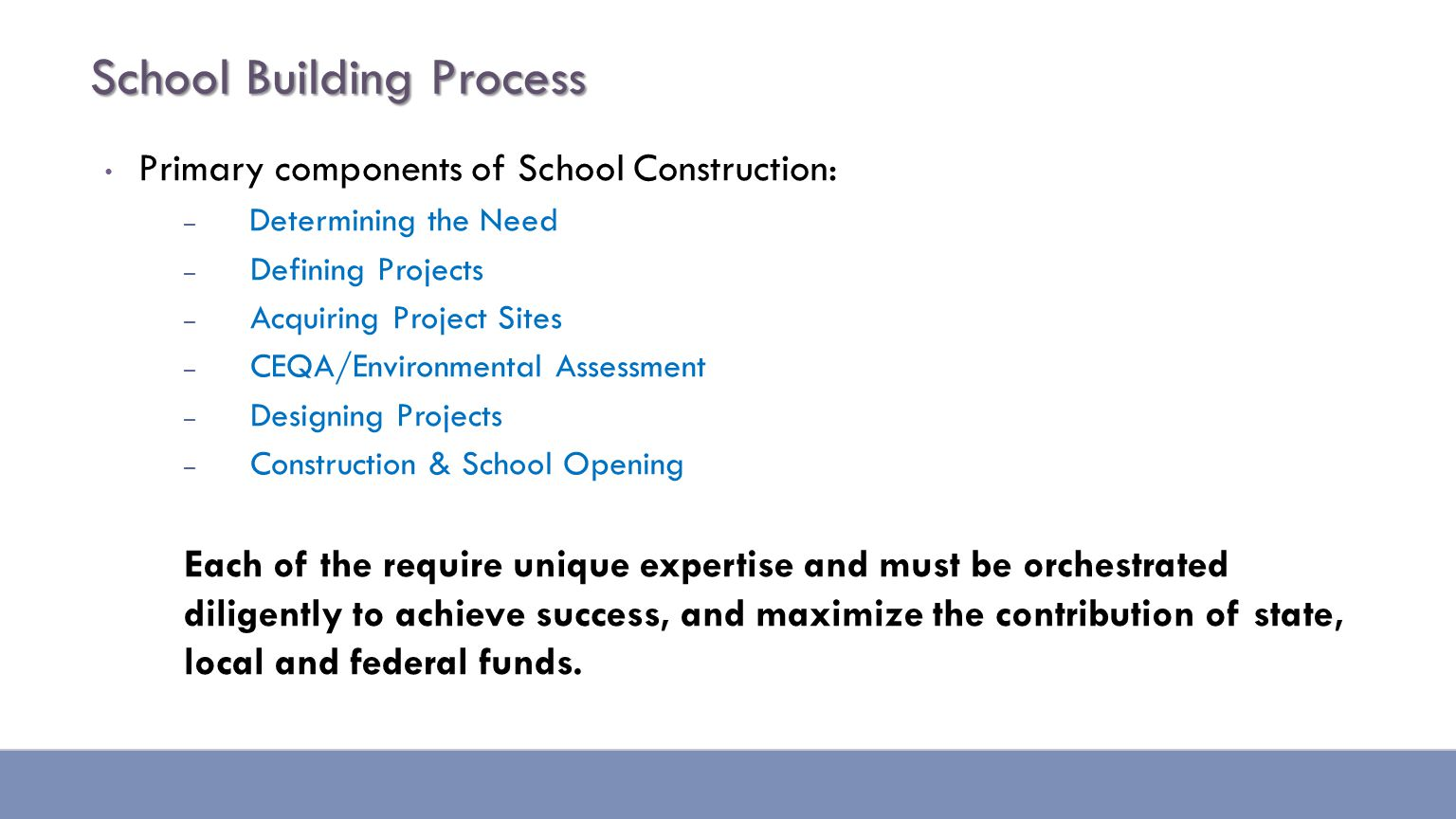 School Building Process Primary components of School Construction: – Determining the Need – Defining Projects – Acquiring Project Sites – CEQA/Environmental Assessment – Designing Projects – Construction & School Opening Each of the require unique expertise and must be orchestrated diligently to achieve success, and maximize the contribution of state, local and federal funds.