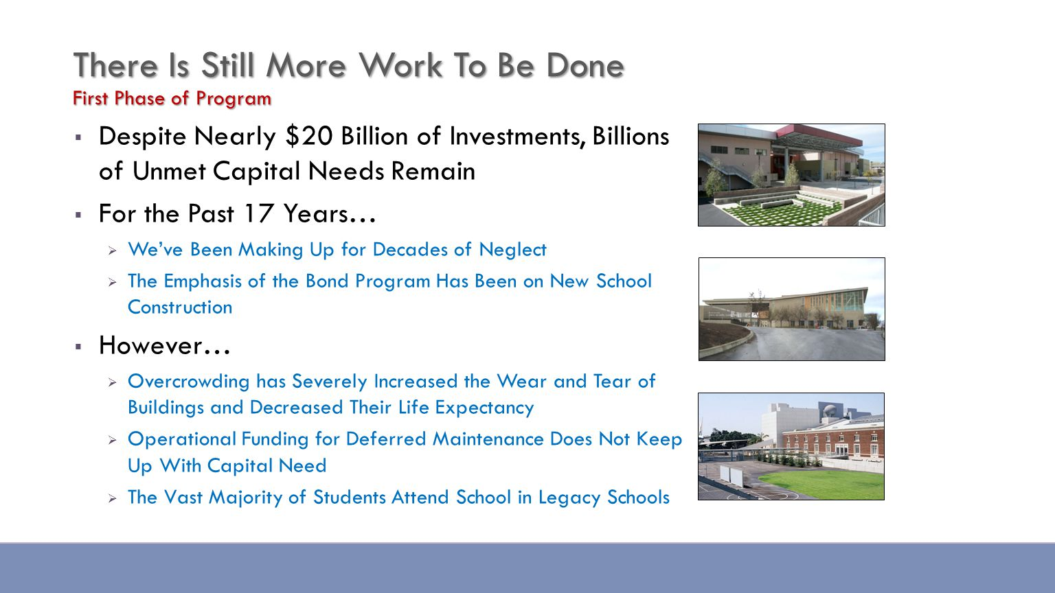  Despite Nearly $20 Billion of Investments, Billions of Unmet Capital Needs Remain  For the Past 17 Years…  We've Been Making Up for Decades of Neglect  The Emphasis of the Bond Program Has Been on New School Construction  However…  Overcrowding has Severely Increased the Wear and Tear of Buildings and Decreased Their Life Expectancy  Operational Funding for Deferred Maintenance Does Not Keep Up With Capital Need  The Vast Majority of Students Attend School in Legacy Schools There Is Still More Work To Be Done First Phase of Program