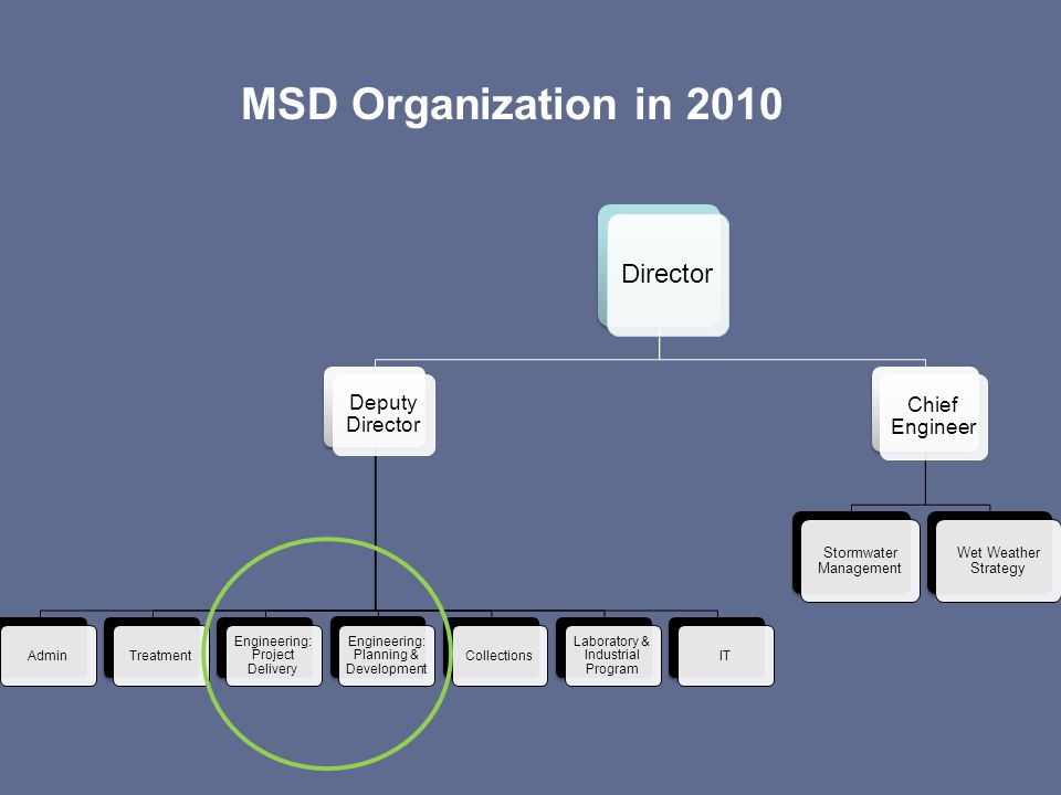 MSD Organization in 2010 Director Deputy Director AdminTreatment Engineering: Project Delivery Engineering: Planning & Development Collections Laborat