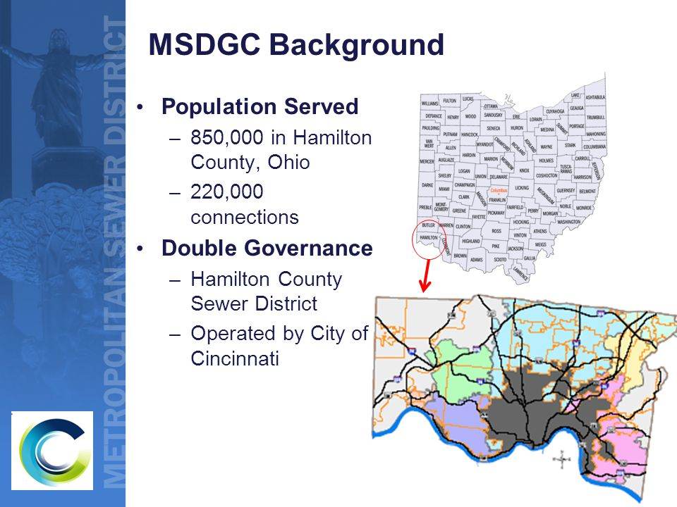 MSDGC Background Population Served –850,000 in Hamilton County, Ohio –220,000 connections Double Governance –Hamilton County Sewer District –Operated