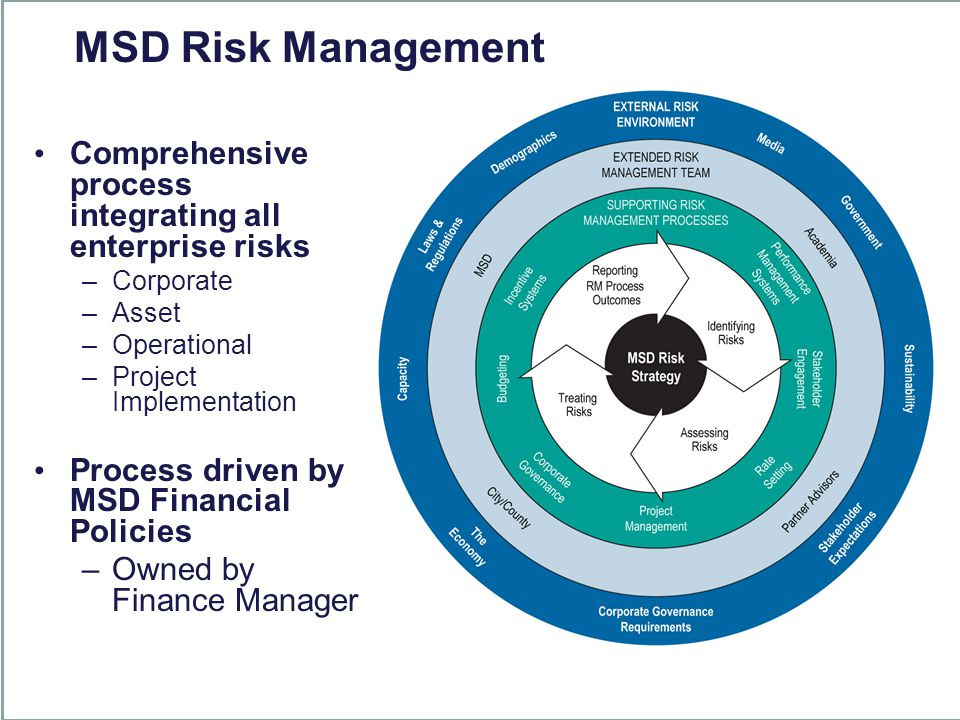 Comprehensive process integrating all enterprise risks –Corporate –Asset –Operational –Project Implementation Process driven by MSD Financial Policies