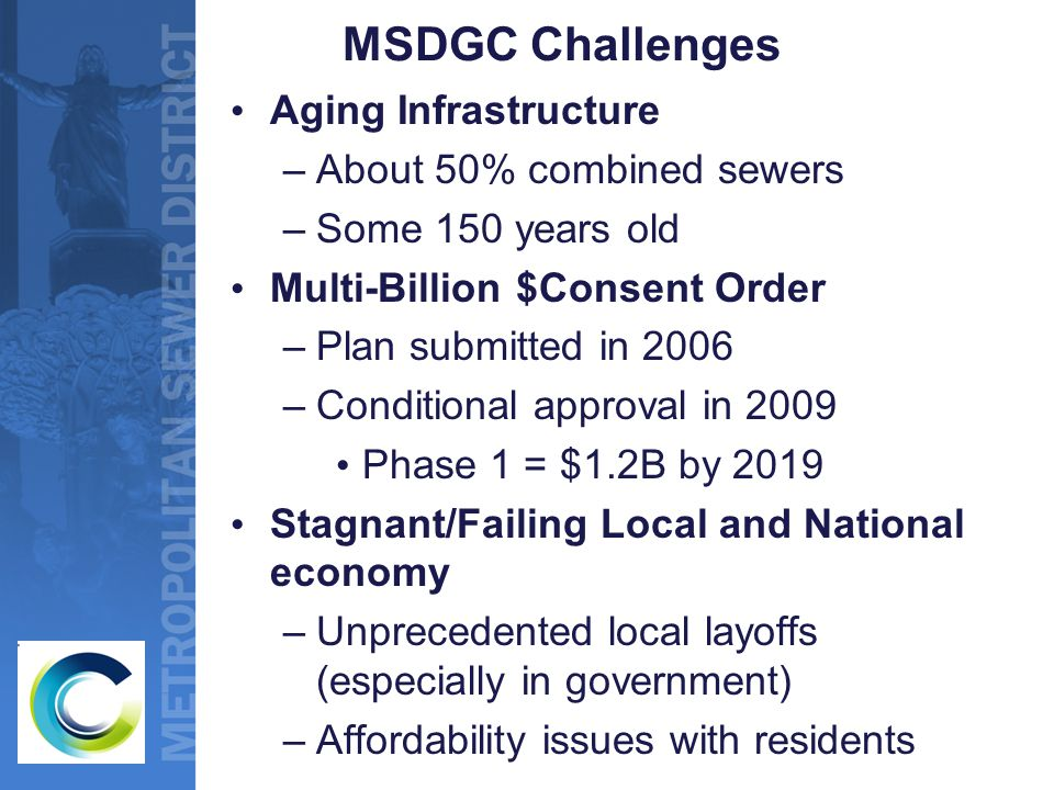 MSDGC Challenges Aging Infrastructure –About 50% combined sewers –Some 150 years old Multi-Billion $Consent Order –Plan submitted in 2006 –Conditional