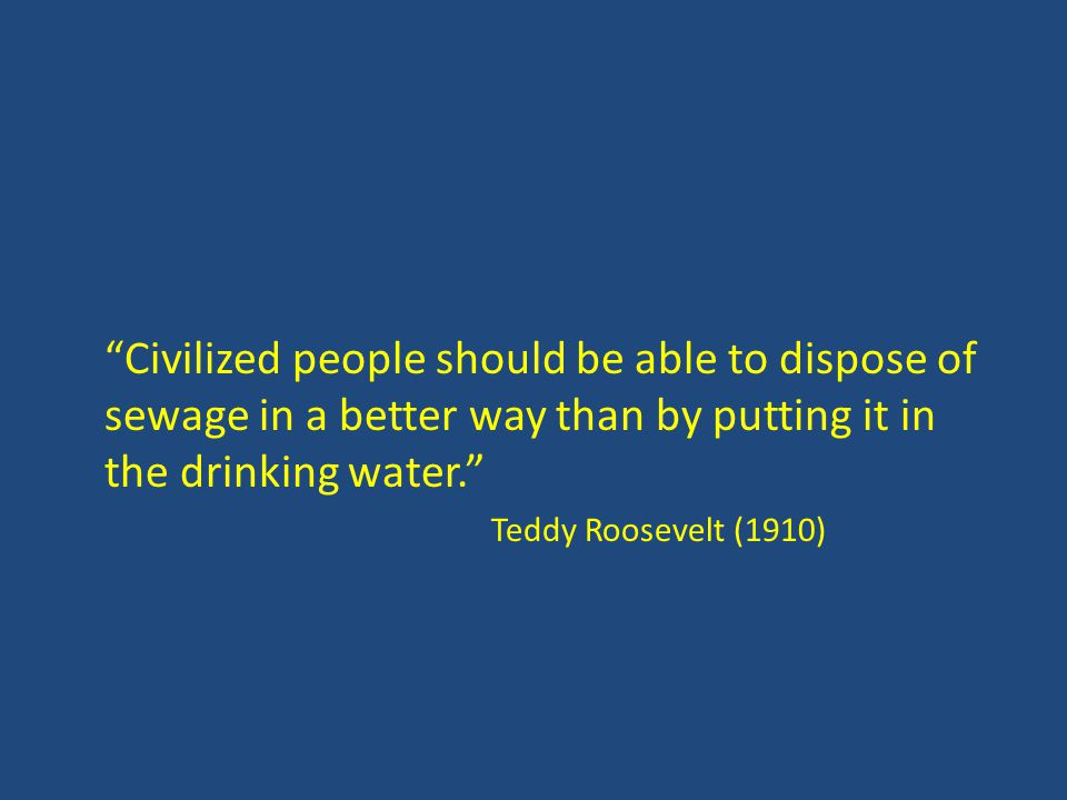 Civilized people should be able to dispose of sewage in a better way than by putting it in the drinking water. Teddy Roosevelt (1910)