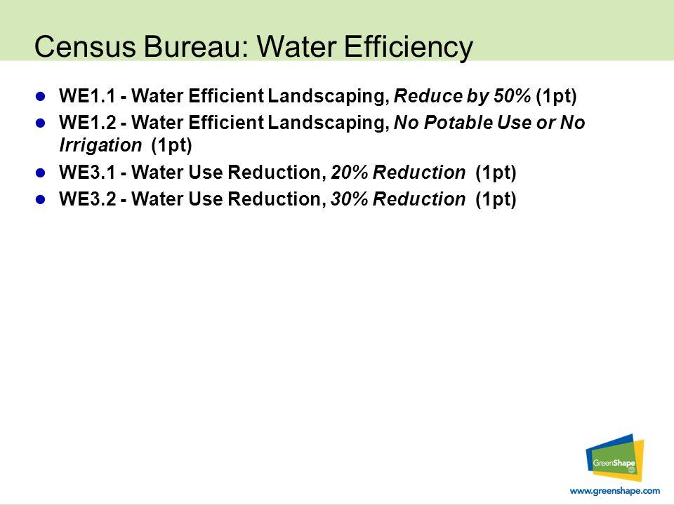 Census Bureau: Water Efficiency ● WE1.1 - Water Efficient Landscaping, Reduce by 50% (1pt) ● WE1.2 - Water Efficient Landscaping, No Potable Use or No Irrigation (1pt) ● WE3.1 - Water Use Reduction, 20% Reduction (1pt) ● WE3.2 - Water Use Reduction, 30% Reduction (1pt)