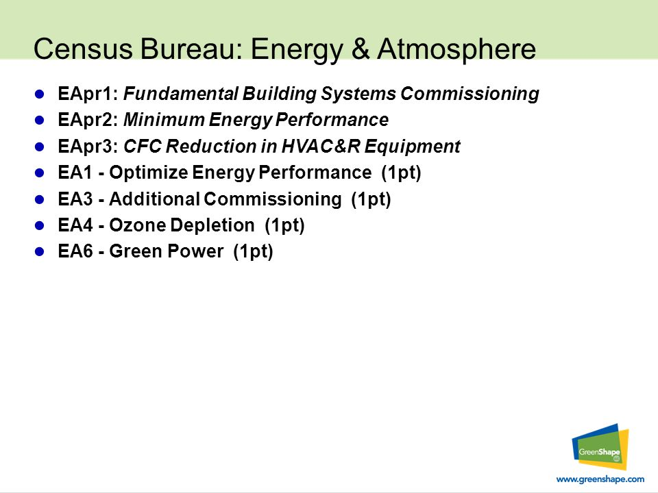 Census Bureau: Energy & Atmosphere ● EApr1: Fundamental Building Systems Commissioning ● EApr2: Minimum Energy Performance ● EApr3: CFC Reduction in HVAC&R Equipment ● EA1 - Optimize Energy Performance (1pt) ● EA3 - Additional Commissioning (1pt) ● EA4 - Ozone Depletion (1pt) ● EA6 - Green Power (1pt)