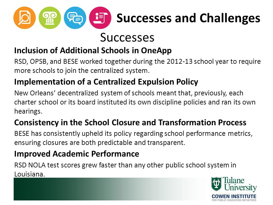 Successes Inclusion of Additional Schools in OneApp RSD, OPSB, and BESE worked together during the 2012-13 school year to require more schools to join the centralized system.