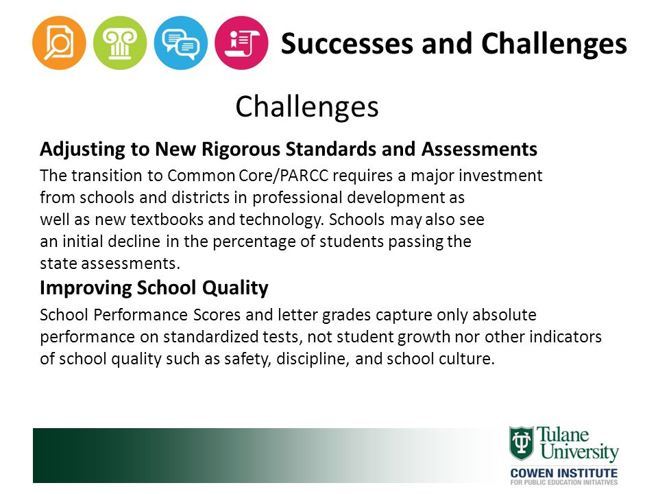 Successes and Challenges Challenges Adjusting to New Rigorous Standards and Assessments The transition to Common Core/PARCC requires a major investment from schools and districts in professional development as well as new textbooks and technology.