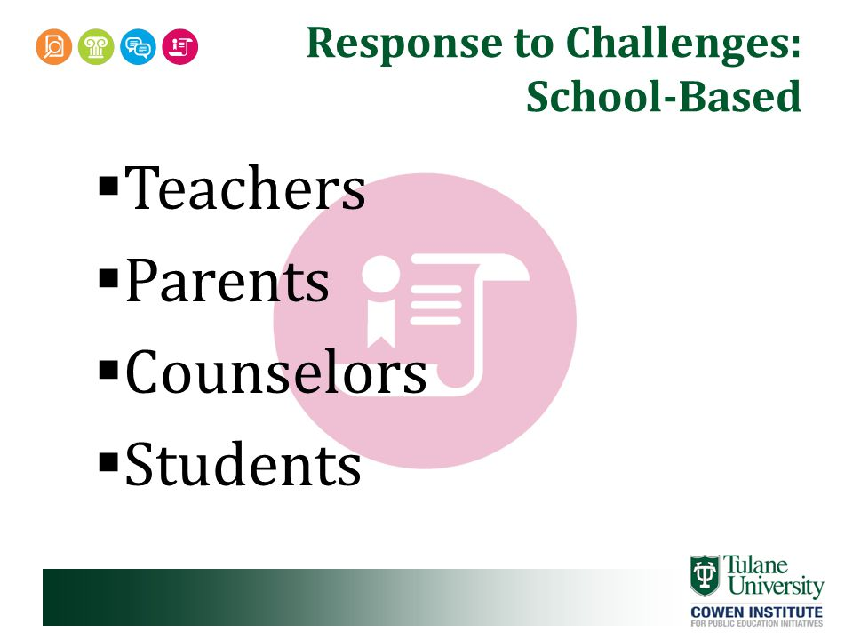 Response to Challenges: School-Based  Teachers  Parents  Counselors  Students