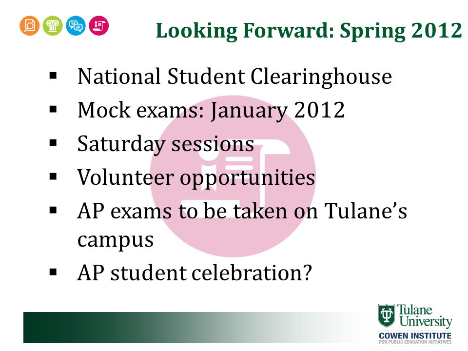 Looking Forward: Spring 2012  National Student Clearinghouse  Mock exams: January 2012  Saturday sessions  Volunteer opportunities  AP exams to be taken on Tulane's campus  AP student celebration?