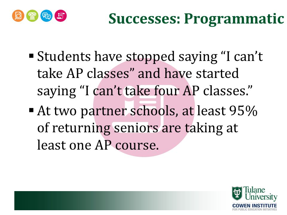 Successes: Programmatic  Students have stopped saying I can't take AP classes and have started saying I can't take four AP classes.  At two partner schools, at least 95% of returning seniors are taking at least one AP course.