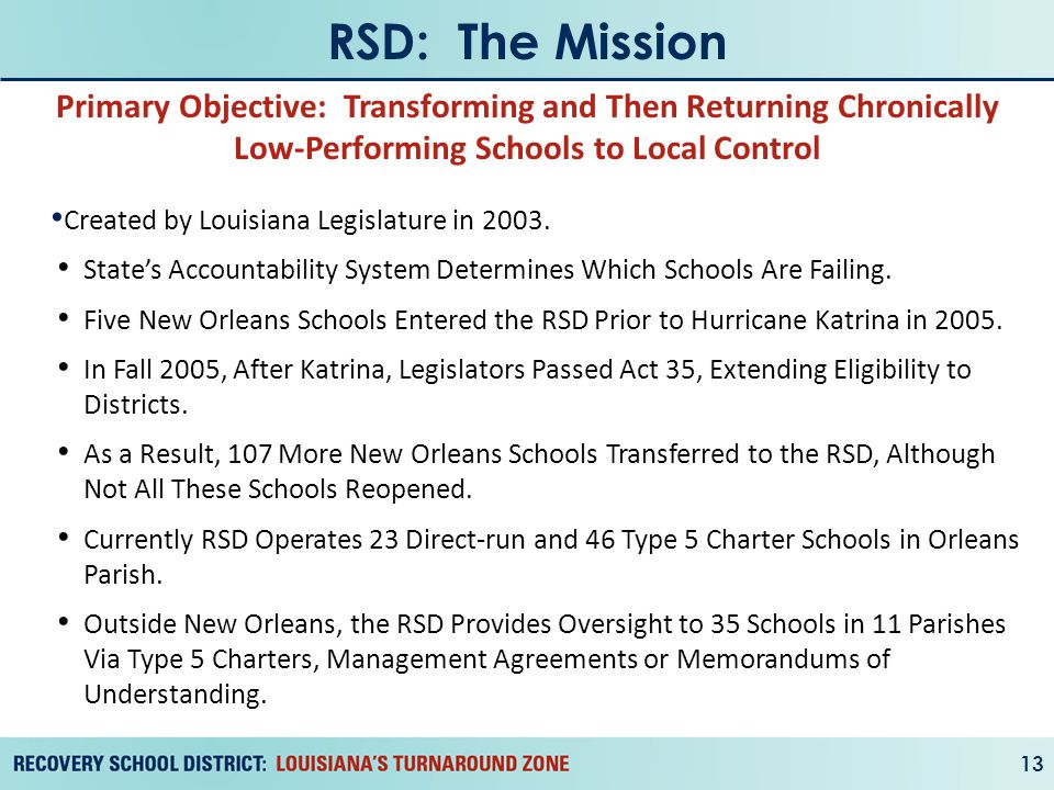RSD: The Mission 13 Created by Louisiana Legislature in 2003.