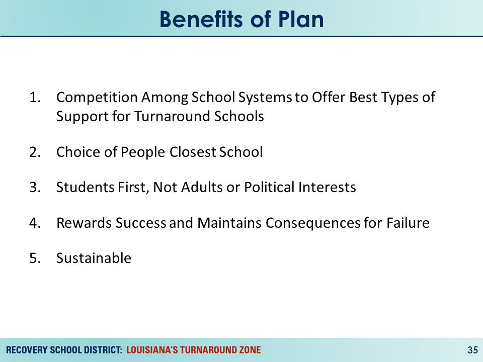 Benefits of Plan 35 1.Competition Among School Systems to Offer Best Types of Support for Turnaround Schools 2.Choice of People Closest School 3.Students First, Not Adults or Political Interests 4.Rewards Success and Maintains Consequences for Failure 5.Sustainable
