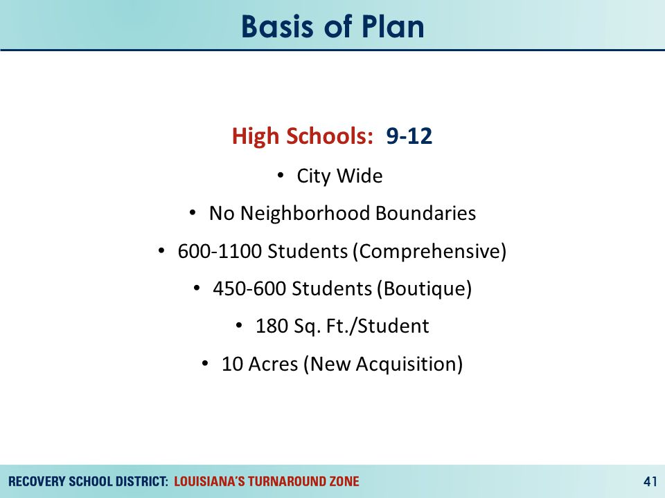 Basis of Plan 41 High Schools: 9-12 City Wide No Neighborhood Boundaries 600-1100 Students (Comprehensive) 450-600 Students (Boutique) 180 Sq.