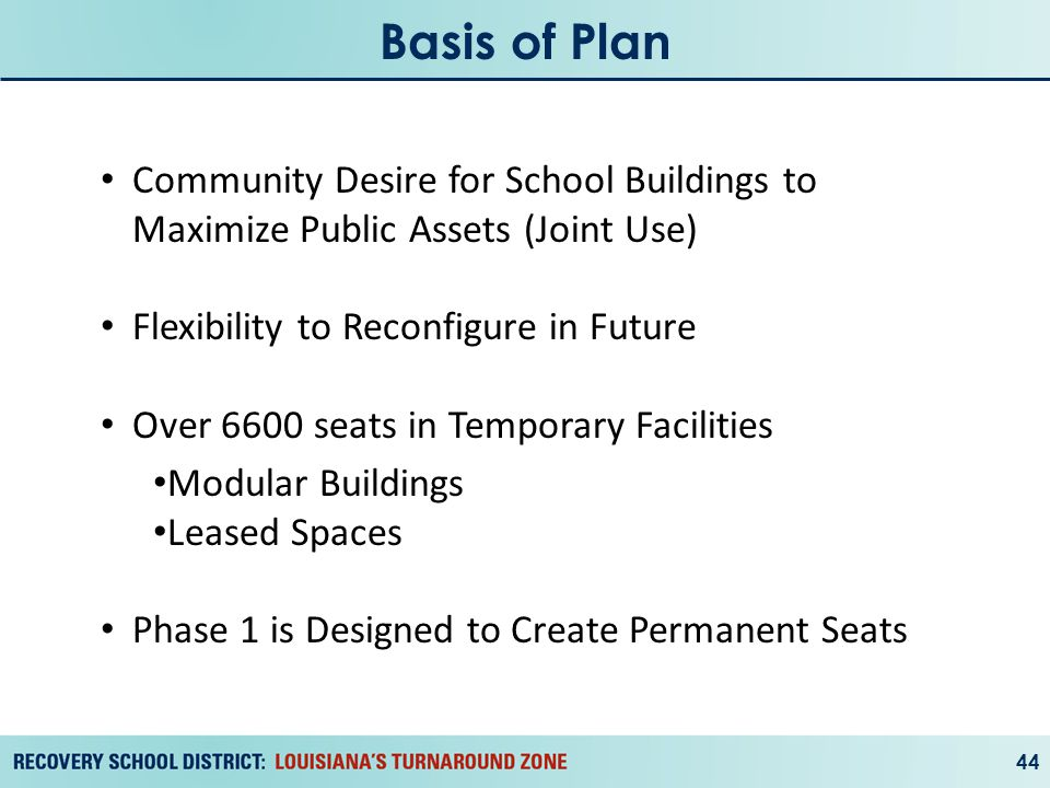 Basis of Plan 44 Community Desire for School Buildings to Maximize Public Assets (Joint Use) Flexibility to Reconfigure in Future Over 6600 seats in Temporary Facilities Modular Buildings Leased Spaces Phase 1 is Designed to Create Permanent Seats