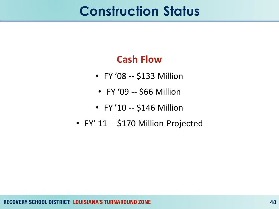 Construction Status 48 Cash Flow FY '08 -- $133 Million FY '09 -- $66 Million FY '10 -- $146 Million FY' 11 -- $170 Million Projected