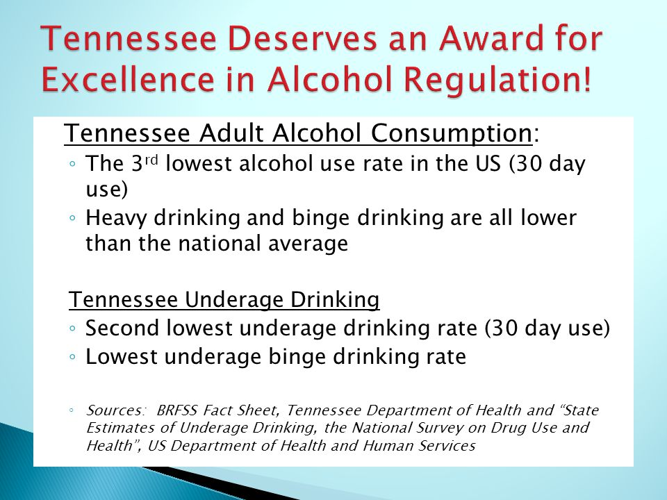 Tennessee Adult Alcohol Consumption: ◦ The 3 rd lowest alcohol use rate in the US (30 day use) ◦ Heavy drinking and binge drinking are all lower than the national average Tennessee Underage Drinking ◦ Second lowest underage drinking rate (30 day use) ◦ Lowest underage binge drinking rate ◦ Sources: BRFSS Fact Sheet, Tennessee Department of Health and State Estimates of Underage Drinking, the National Survey on Drug Use and Health , US Department of Health and Human Services