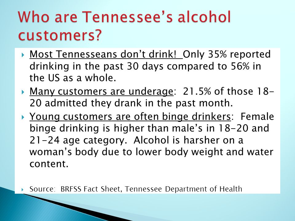  Most Tennesseans don't drink.