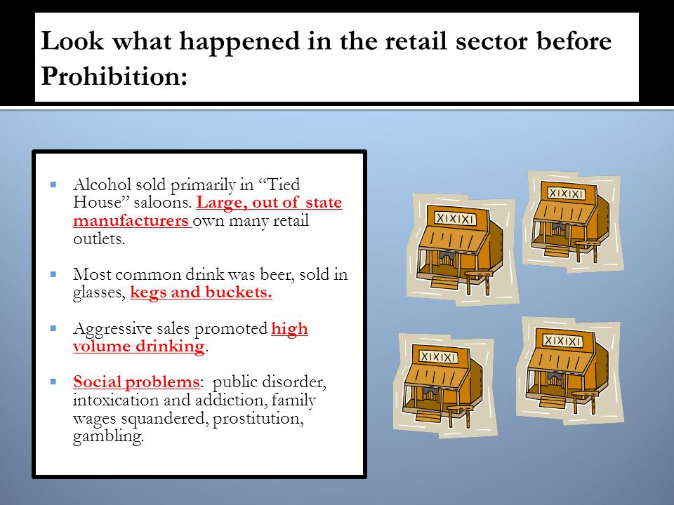  Alcohol sold primarily in Tied House saloons.