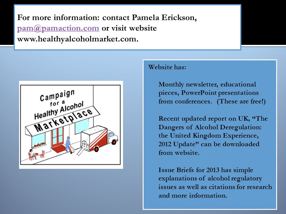 Website has:  Monthly newsletter, educational pieces, PowerPoint presentations from conferences.